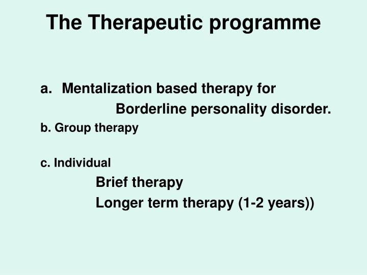 The Therapeutic programme