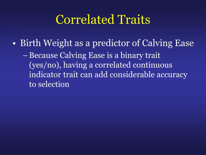 Correlated Traits