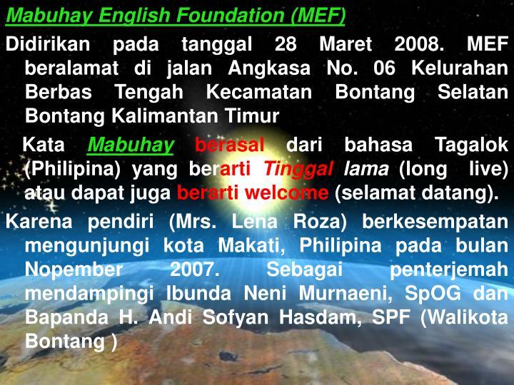 Mabuhay English Foundation (MEF)