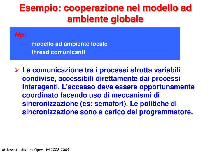 Esempio: cooperazione nel modello ad ambiente globale