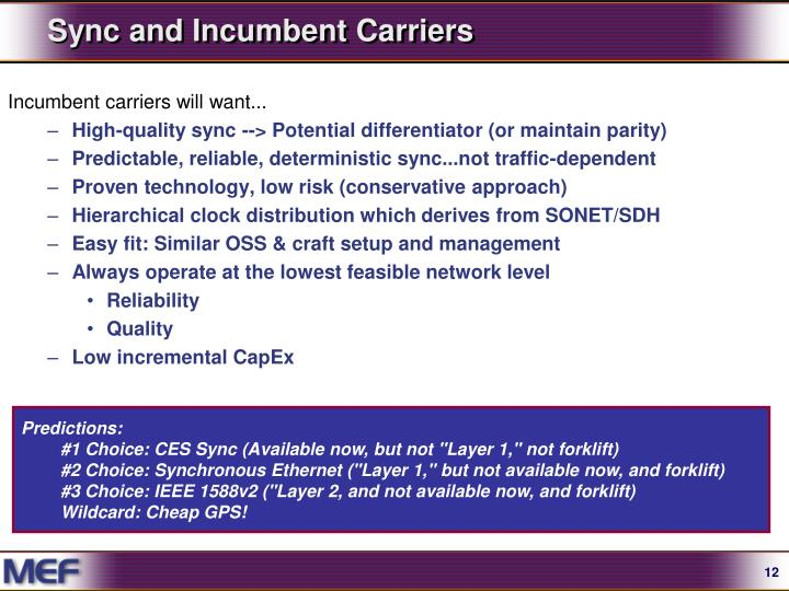 Sync and Incumbent Carriers