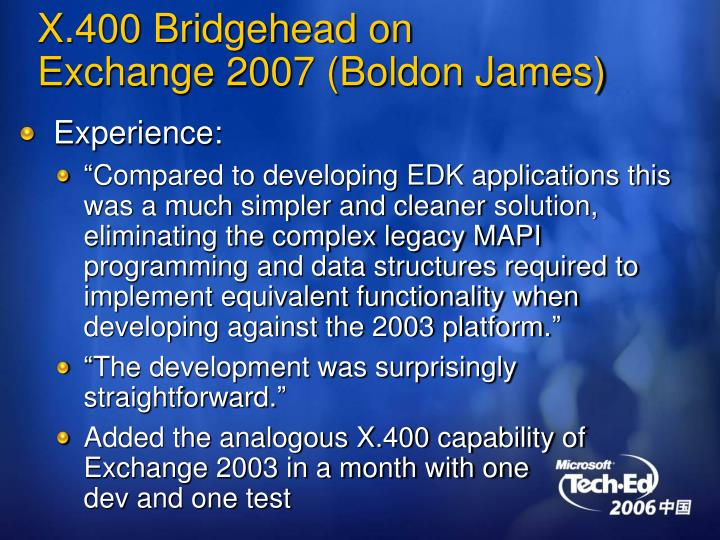 X.400 Bridgehead on