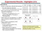 experimental results highlights 2 3