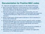 documentation for positive mac codes