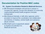 documentation for positive mac codes3