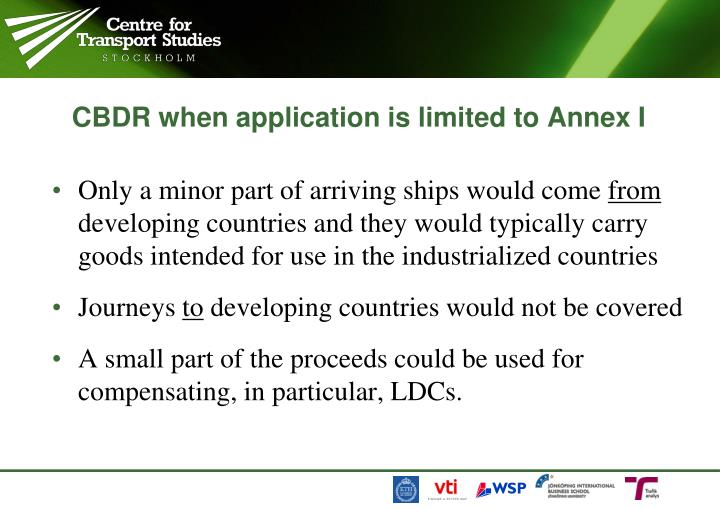 CBDR when application is limited to Annex I