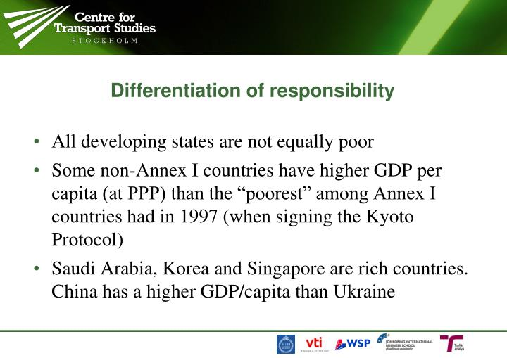 Differentiation of responsibility