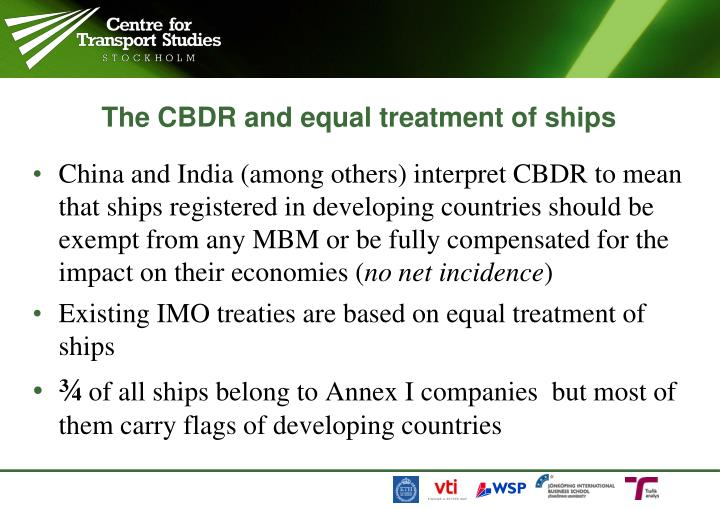The CBDR and equal treatment of ships