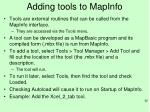 adding tools to mapinfo