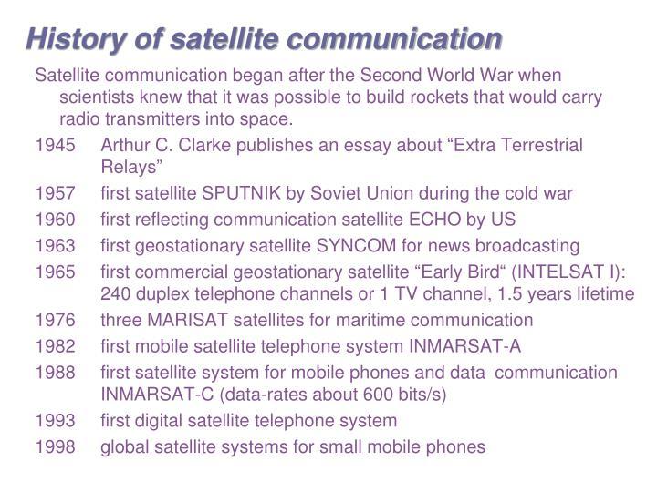 History of satellite communication