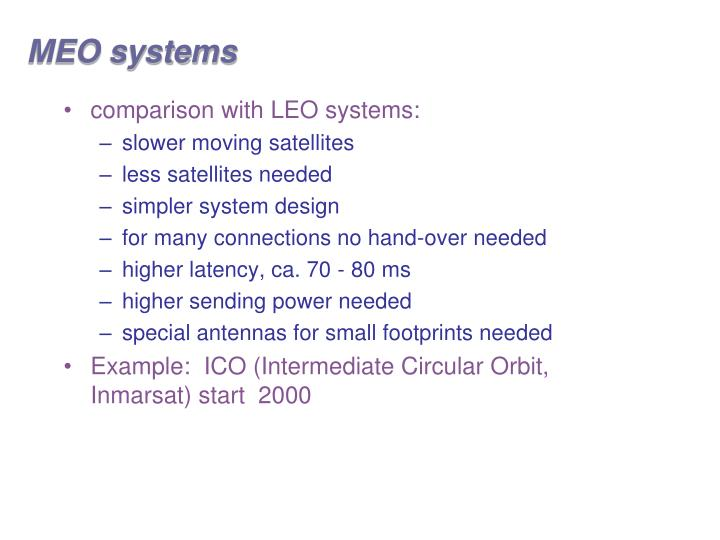 MEO systems