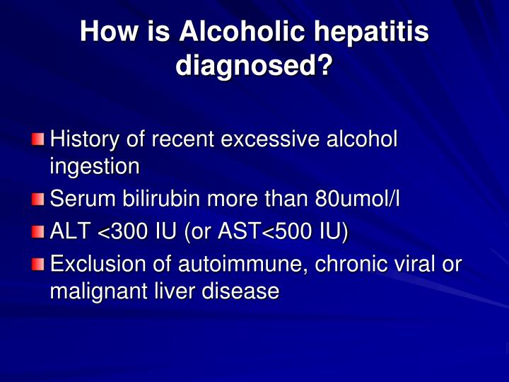 How is alcoholic hepatitis diagnosed