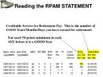 reading the rpam statement8