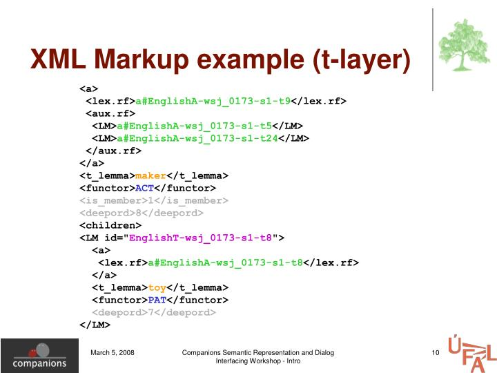 XML Markup example (t-layer)