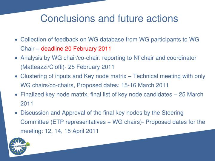 Collection of feedback on WG database from WG participants to WG Chair –