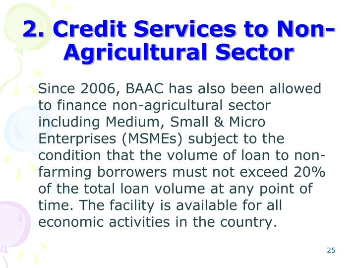 2. Credit Services to Non-Agricultural Sector