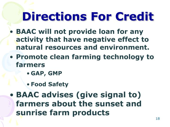 Directions For Credit