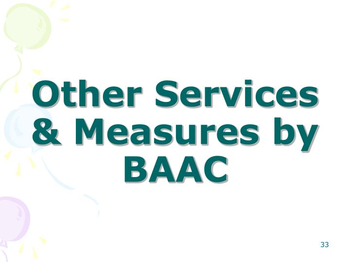 Other Services & Measures by BAAC