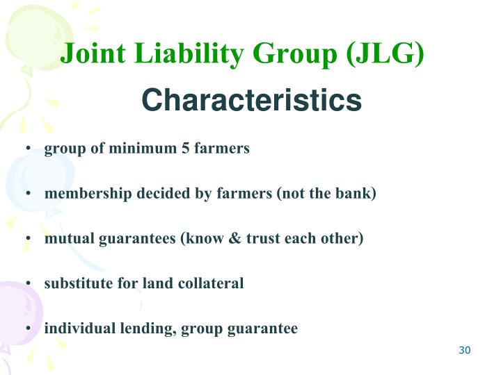 Joint Liability Group (JLG)
