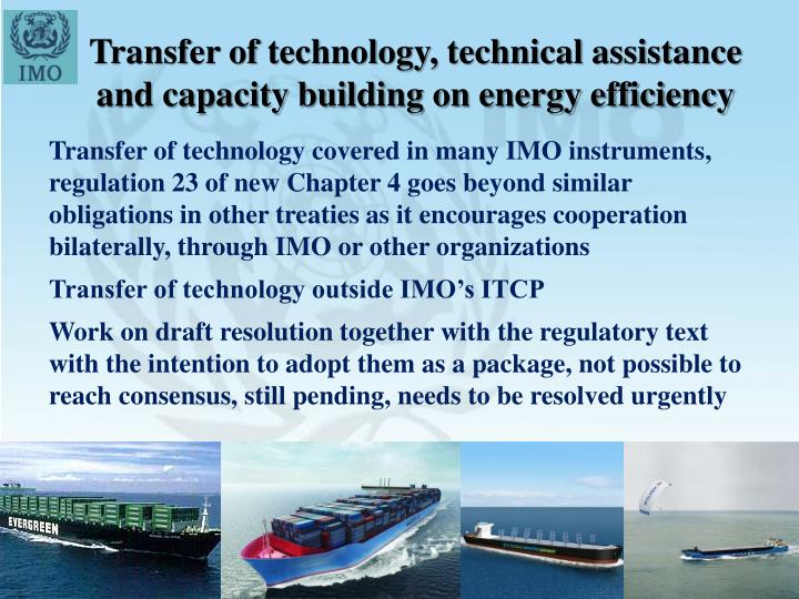 Transfer of technology, technical assistance and capacity building on energy efficiency