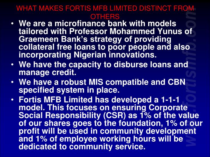 WHAT MAKES FORTIS MFB LIMITED DISTINCT FROM OTHERS