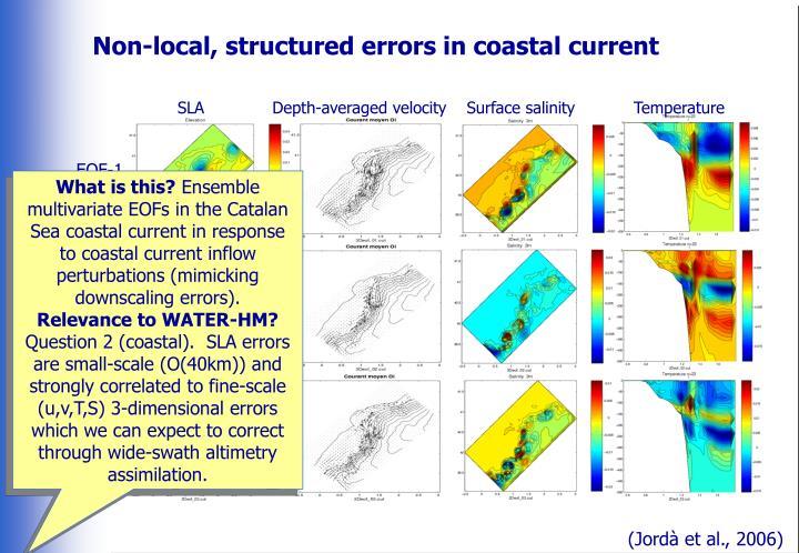 Non-local, structured errors in coastal current