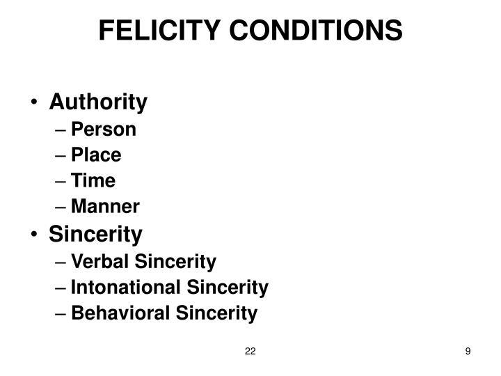 FELICITY CONDITIONS