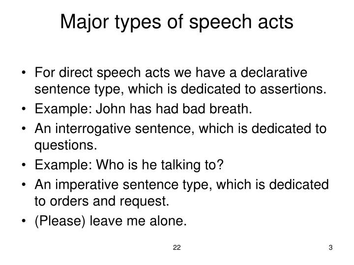 Major types of speech acts