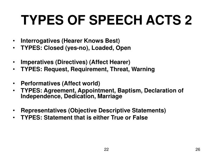 TYPES OF SPEECH ACTS 2
