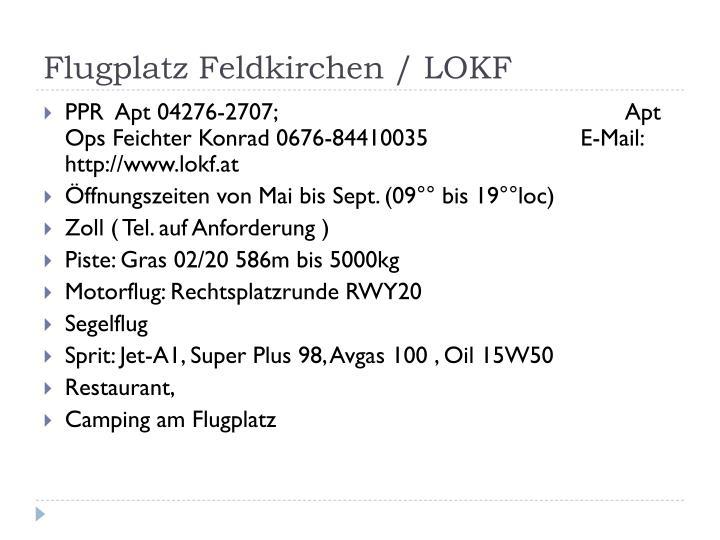 Flugplatz feldkirchen lokf