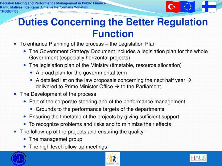 Duties Concerning the Better Regulation Function