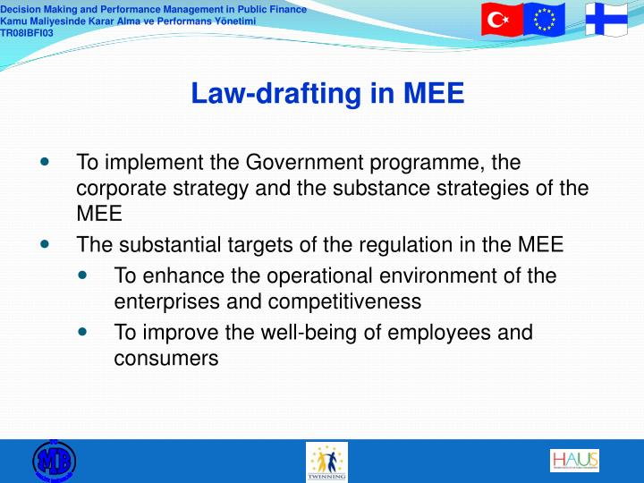 Law-drafting in MEE