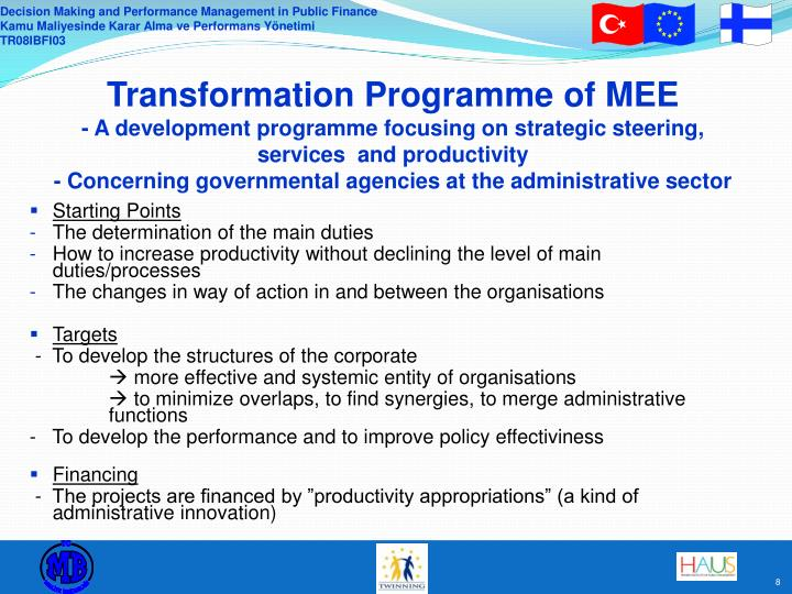 Transformation Programme of MEE