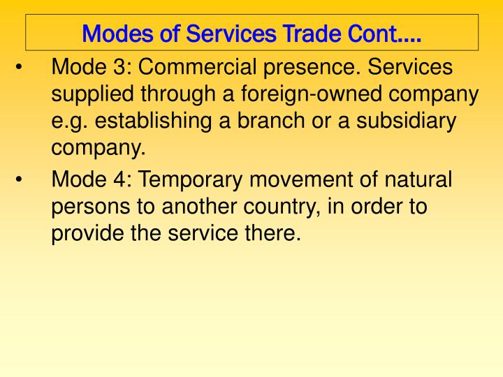 Modes of Services Trade Cont….