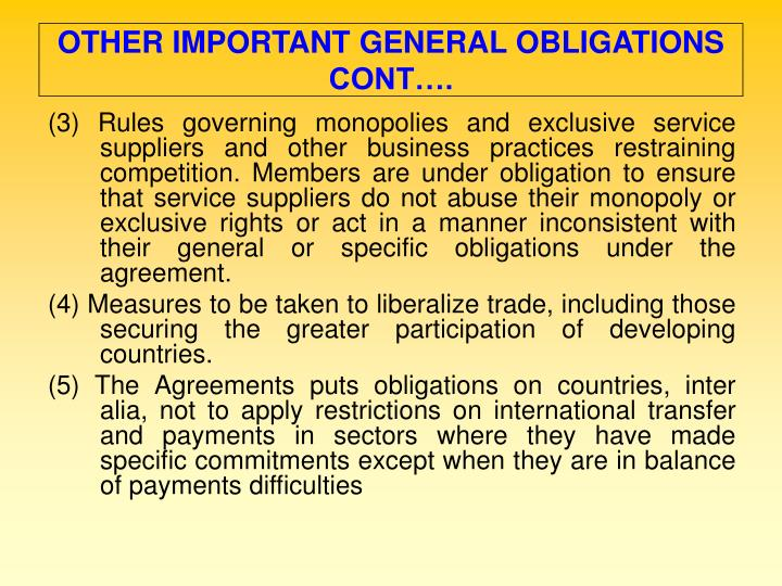 OTHER IMPORTANT GENERAL OBLIGATIONS CONT….