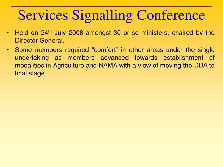 Services Signalling Conference