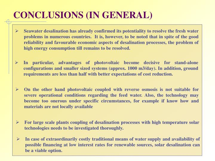CONCLUSIONS (IN GENERAL)
