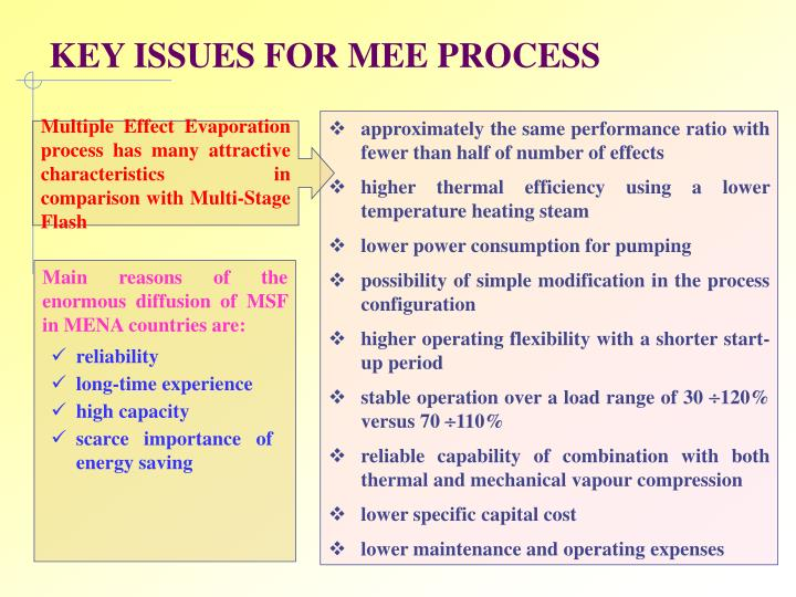 Key issues for mee process