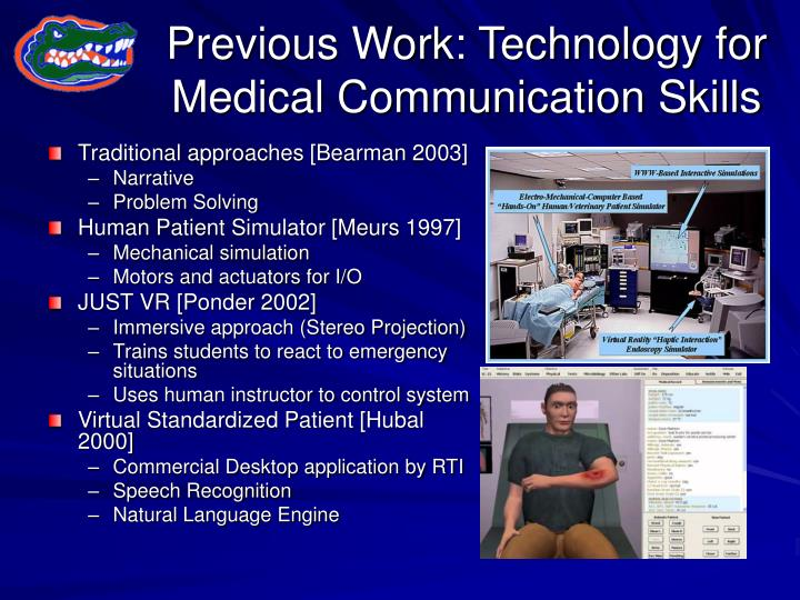Previous work technology for medical communication skills