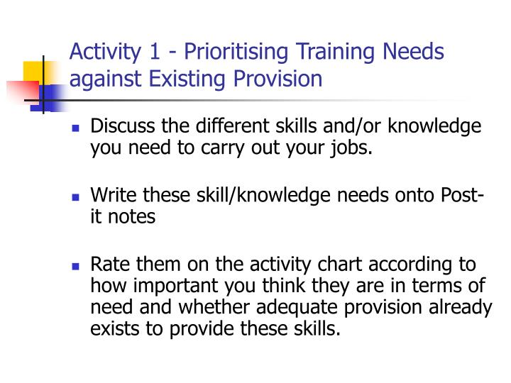 Activity 1 - Prioritising Training Needs against Existing Provision