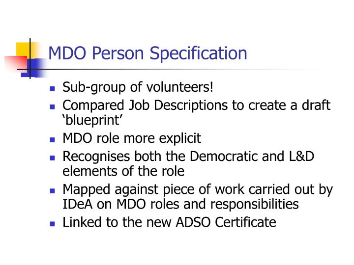 MDO Person Specification