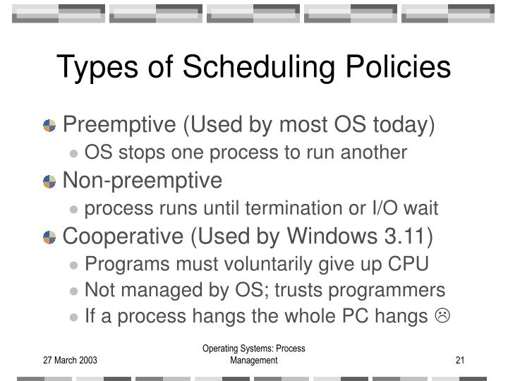 Types of Scheduling Policies