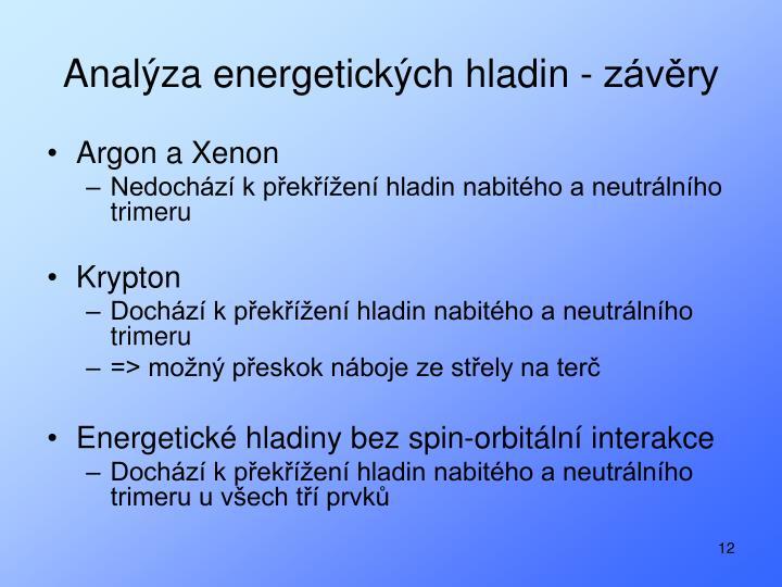 Analýza energetických hladin - závěry