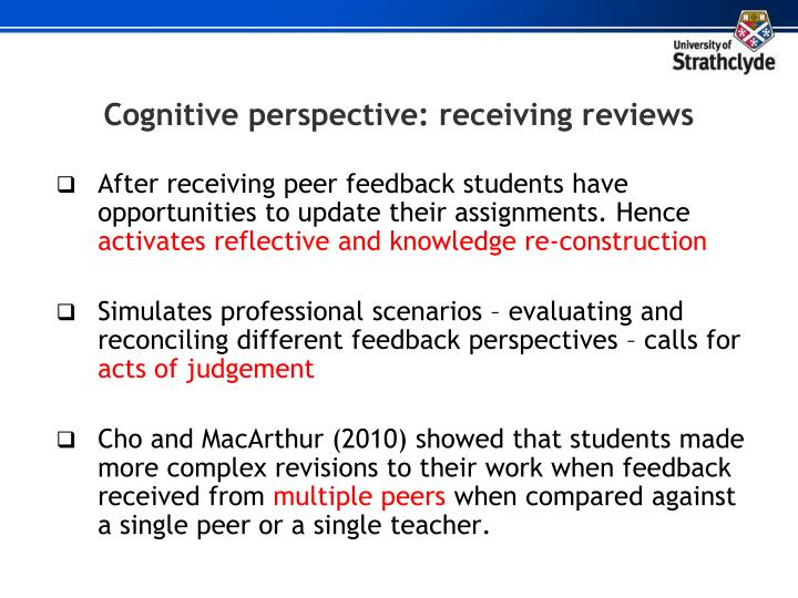 Cognitive perspective: receiving reviews