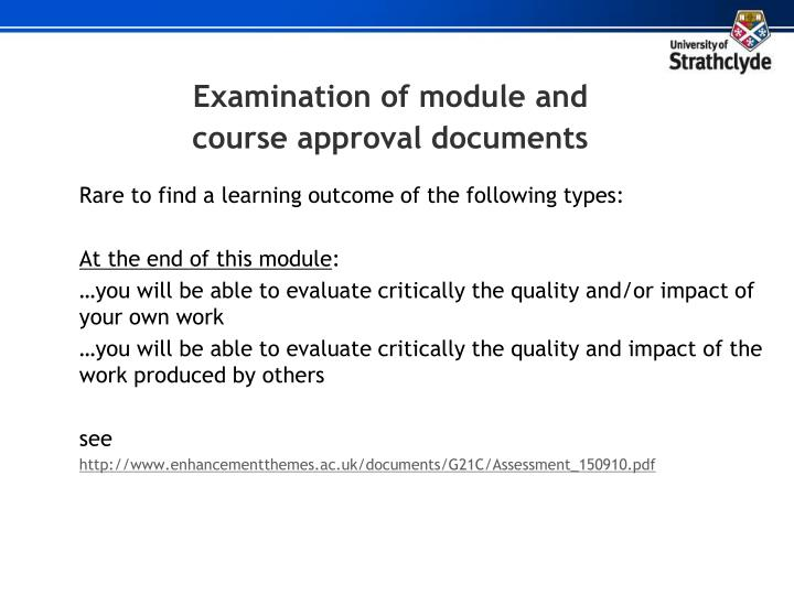 Examination of module and