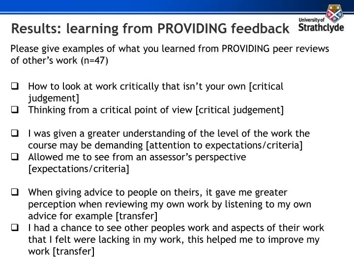 Results: learning from PROVIDING feedback
