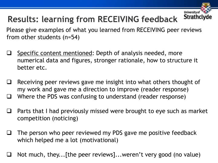 Results: learning from RECEIVING feedback
