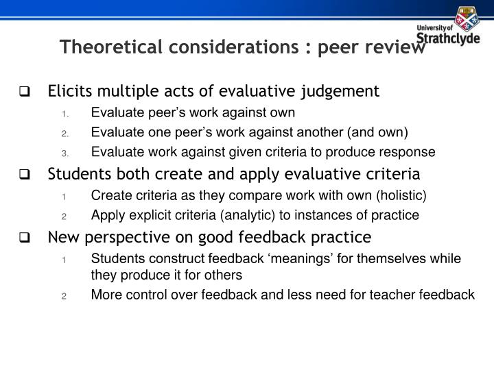 Theoretical considerations : peer review