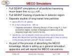 meco simulations