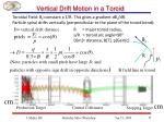 vertical drift motion in a toroid